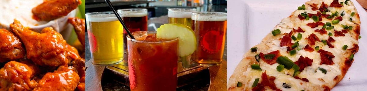 Bone-In Chicken Wings, Beer Flight and Bloody Mary, and Jalapeno Popper Flatbread at David Reay's in Onalaska, Wisconsin