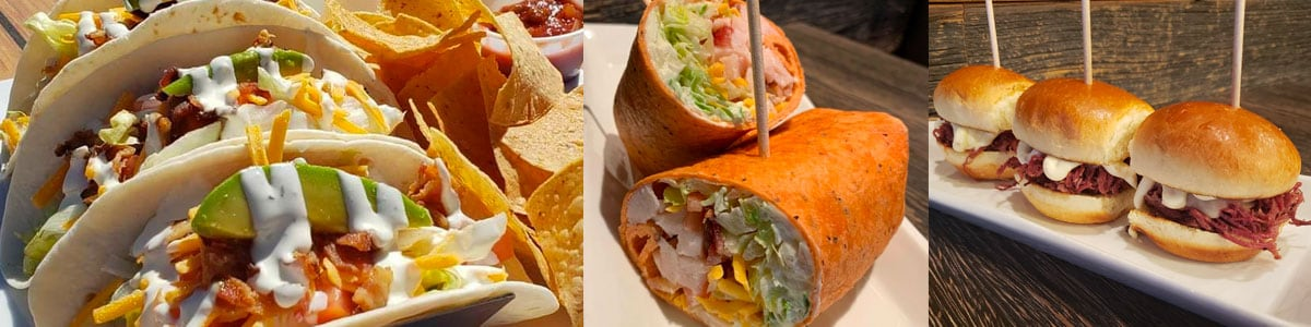Chicken Bacon Ranch Tacos, Turkey Club Wrap, and Corned Beef Sliders at David Reay's in Onalaska, Wisconsin